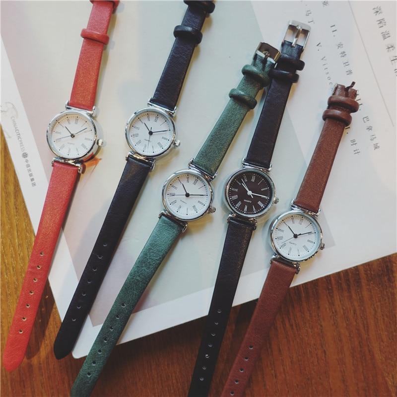 Exquisite small simple women dress watches retro leather female clock Bgg brand women's fashion mini design wristwatches clock