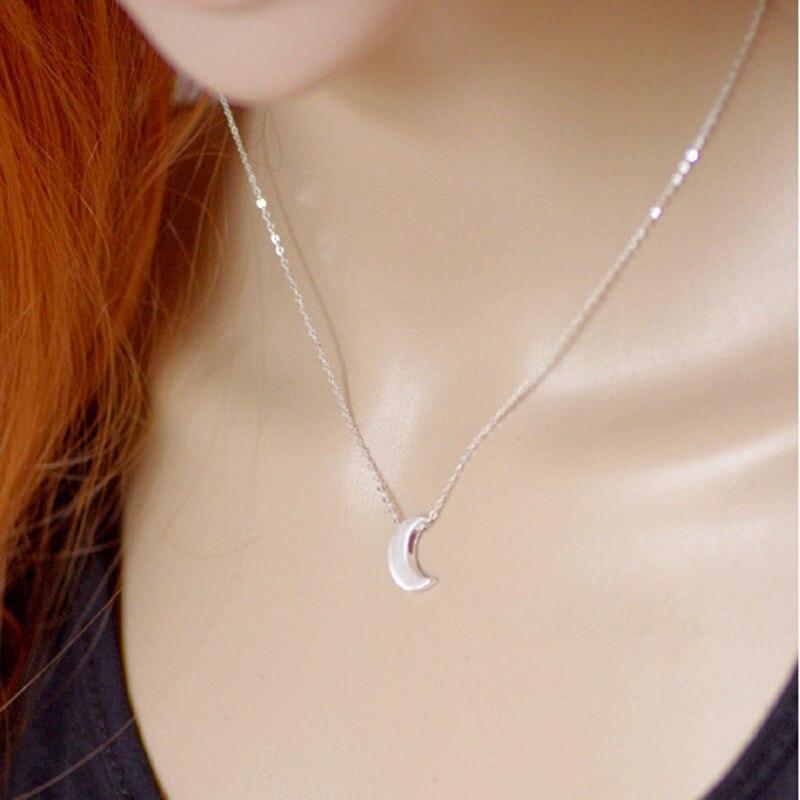 4c61f384fc24 8 unids set plata oro media luna colgante collar moda mujer Ropa Accesorios  joyería diseño Simple suministros  81609 en Collares pendientes de Joyería  y ...