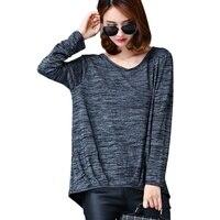 2017 Autumn Plus Size 3XL 5XL Women Cotton Loose Tees Striped Casual V Neck Tops Long