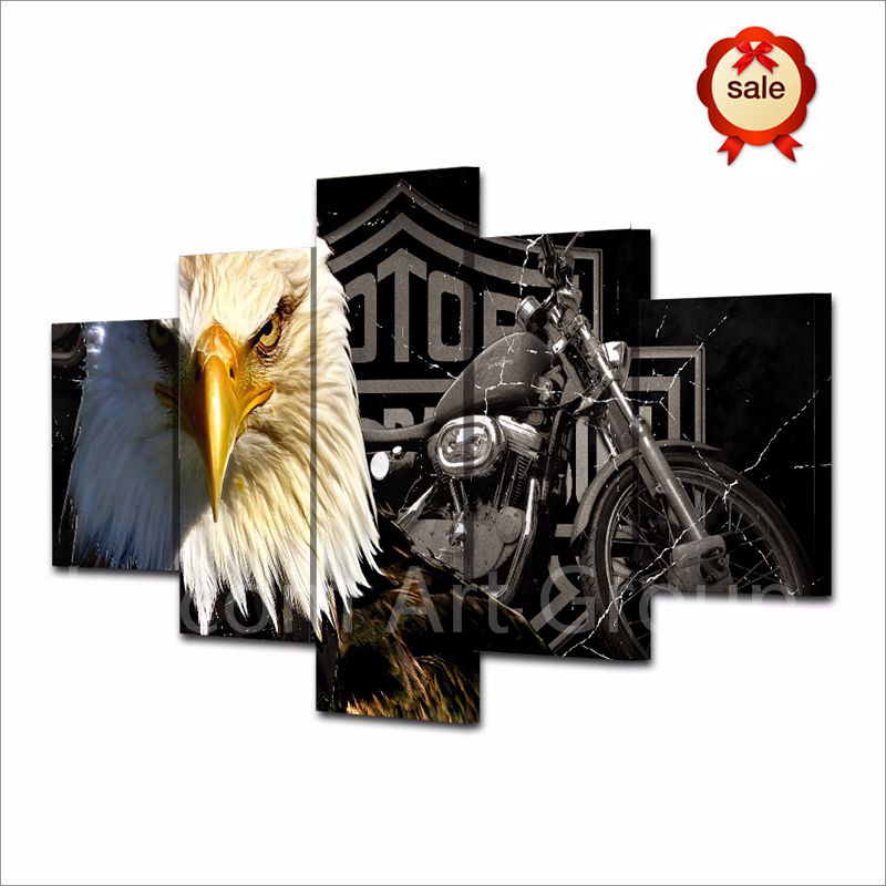 Eagle Motorcycle Painting 5Piece Canvas Art Wall Painting Art for Living Room <font><b>Bed</b></font> Room Study Wall Decor Home Decor No Frame