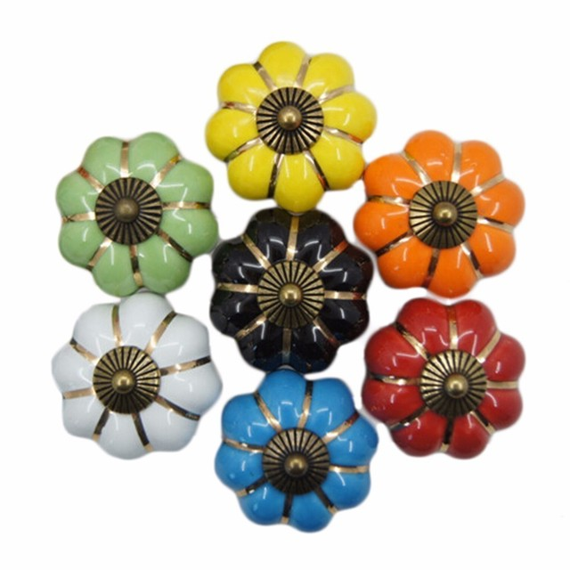 Cute Rose Pumpkin Ceramics Kitchen Cabinet Drawer Handles Knobs For Drawer Wooden Jewelry Box Furniture Hardware Pulls Handle