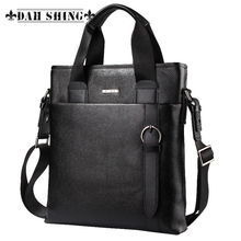 Uniform solid colors 100% Genuine Leather top cowhide men's handbag messenger bag tote briefcase zipper closure 30*30cm