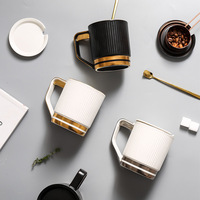 Mug with lid spoon coffee cups porcelain white black stripe tea cup home drink teacup tazas de cafe Office Water cup