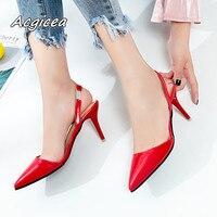 2019 летние женские босоножки острый носок Обувь на высоком каблуке телесного цвета Совет с 7 см с туфли-лодочки на высоком каблуке zapatos mujer f026