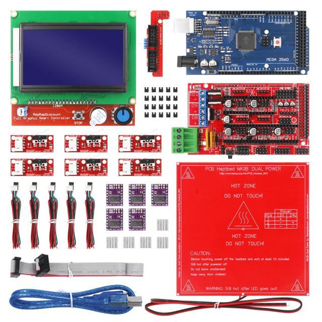 CNC 3D Printer Kit with Mega 2560 Board,RAMPS 1.4,DRV8825,LCD 12864,Heatbed MK2b for Arduino