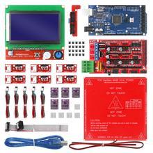 CNC 3D yazıcı kiti Mega 2560 kurulu, rampalar 1.4,DRV8825,LCD 12864, heatbed MK2b Arduino için