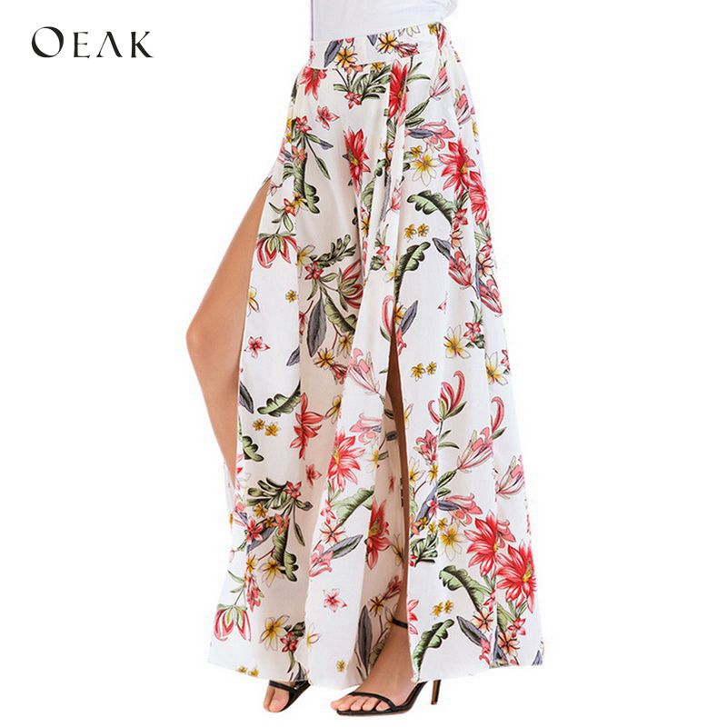 OEAK 2018 Floral Print   Wide     Leg     Pants   Women Summer Elastic Waist Chiffon Long Split Trousers Casual Boho Beach Pantalones Mujer