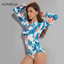 AONIHUA HOT One Piece Swimsuit Women Vintage Long Sleeve Push up Surfing Swimwear Female Print Front Zipper Bather Swimming Suit