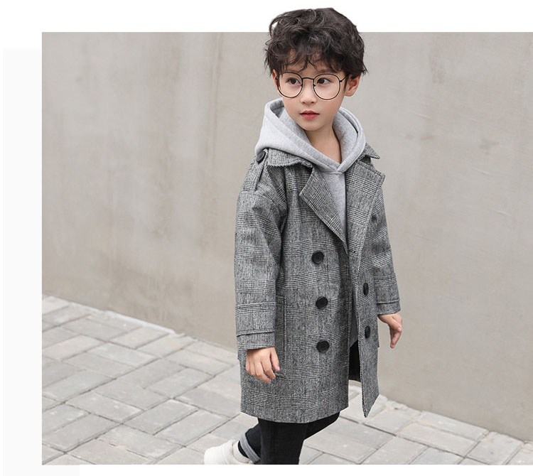 gray plaid pockets long jackets for baby boys fashion trench coats clothing kids autumn children outerwear tops clothes new 2018 (5)