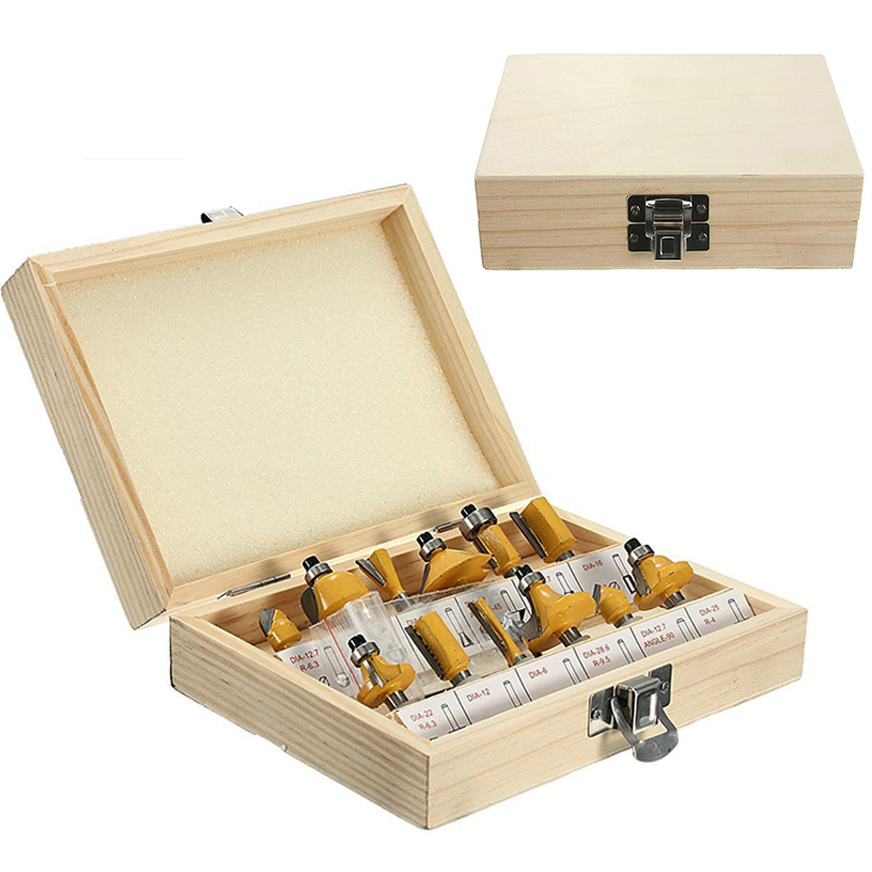 12pcs Carbide Router Bit Set 1/4'' Shank Woodworking Cutter Tool + Wrench with Wooden Box [15 pcs router bit set] woodworking milling cutters for wood router woodworking machine free shipping yg8 carbide wooden box