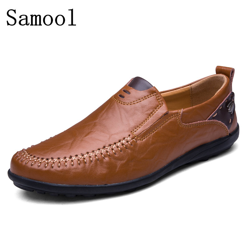 все цены на  2017 Spring Autumn Breathable Soft Genuine Leather Flats Loafers Men Shoes Casual Luxury Fashion Slip On Driving Shoes  онлайн