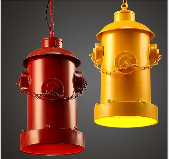 hydrant red pendant lamps Loft industrial wind pendant lights retro iron coffee bar creative personality art lighting fire  ZA american industrial hemp rope iron crystal pendant lights creative personality living room coffee shop 75cm retro pendant lamps