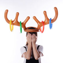 Toys For Children High Quality Inflatable Reindeer Christmas Hat Antler Ring Toss Holiday Party Game Toys 2017 New Educational(China)