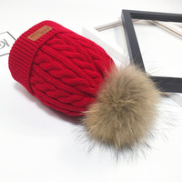 KNB009 Real Fur Beanie Winter Women Men Knitted Beanies Skullies With 15cm Pom pom Curled Genuine Fur Ball Cable Pattern Cap