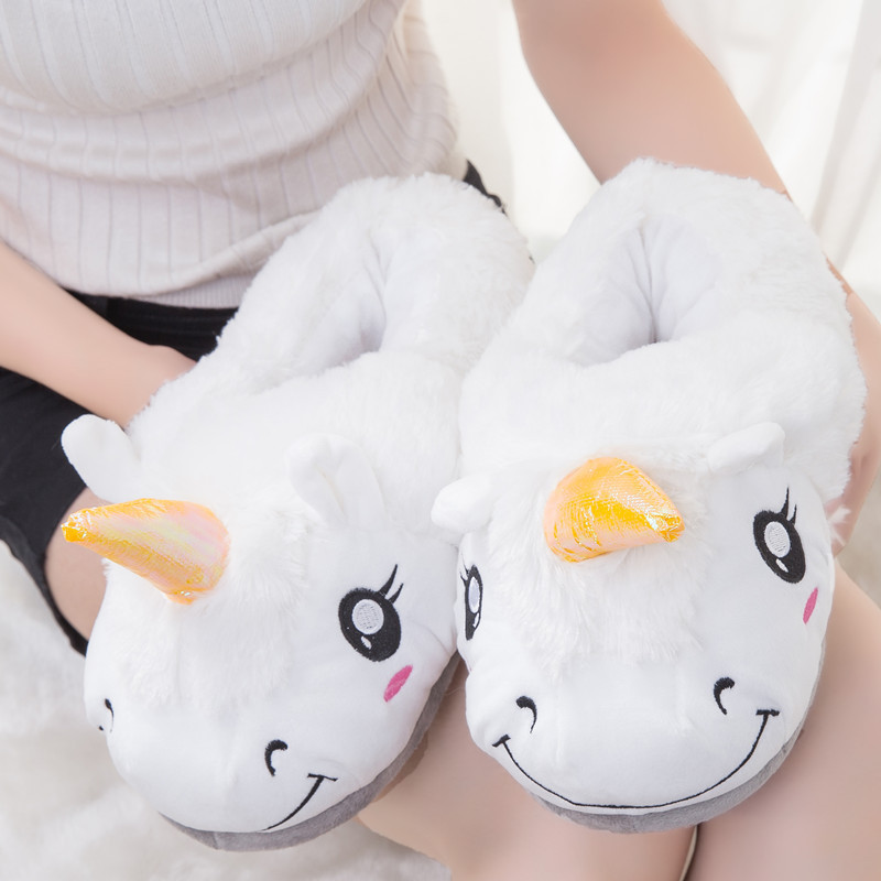 цены Winter indoor slippers women warm plush home shoes cute cartoon unicorn slippers fluffy furry soft unicornio house slides ladies