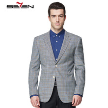Seven7 Brand Men Suits Custom Made Casual Blazer Tops Fashion Plaid 2 Buttons Front Contract Color High Quality Handmade Suits