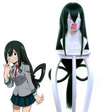 Boku No Hero Academia Tsuyu Asuiคอสเพลย์วิกผมMy Hero Academiaผู้หญิงยาวสีเขียวสังเคราะห์ฮาโลวีนParty + วิกผมหมวก
