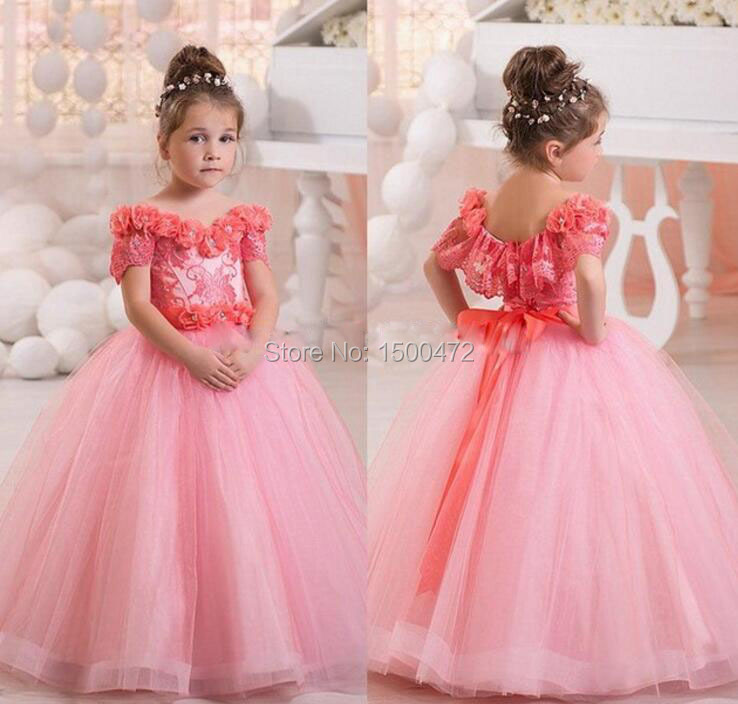 2017 Lace Ball Gown Flower Girl Dresses Pink Crystal Long Kids Evening Gowns For Weddings Boat Neck Ribbons Girls Pageant Dress