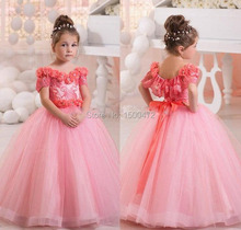 2017 Lace Ball Gown Flower Girl Dresses Pink Crystal Long Kids Evening Gowns For Weddings Boat