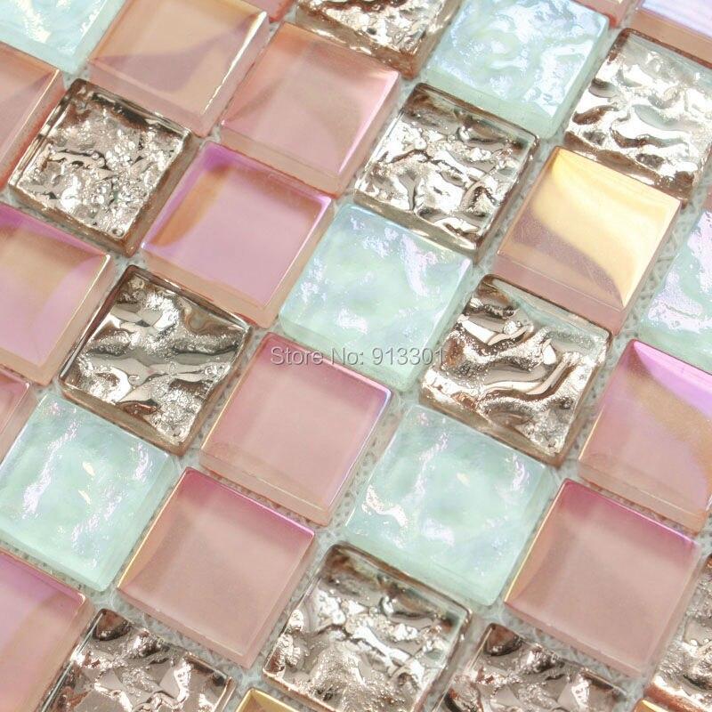 mosaico de cristal rosa azulejos backsplash cocina salpicaduras de azulejos de cristal de vidrio hgt106 iridiscente mosaicos bao pisos en de en