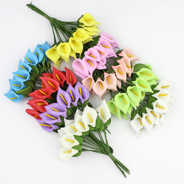 2.5cm Mini Foam Calla lily Artificial Flowers Bouquet for Wedding ...