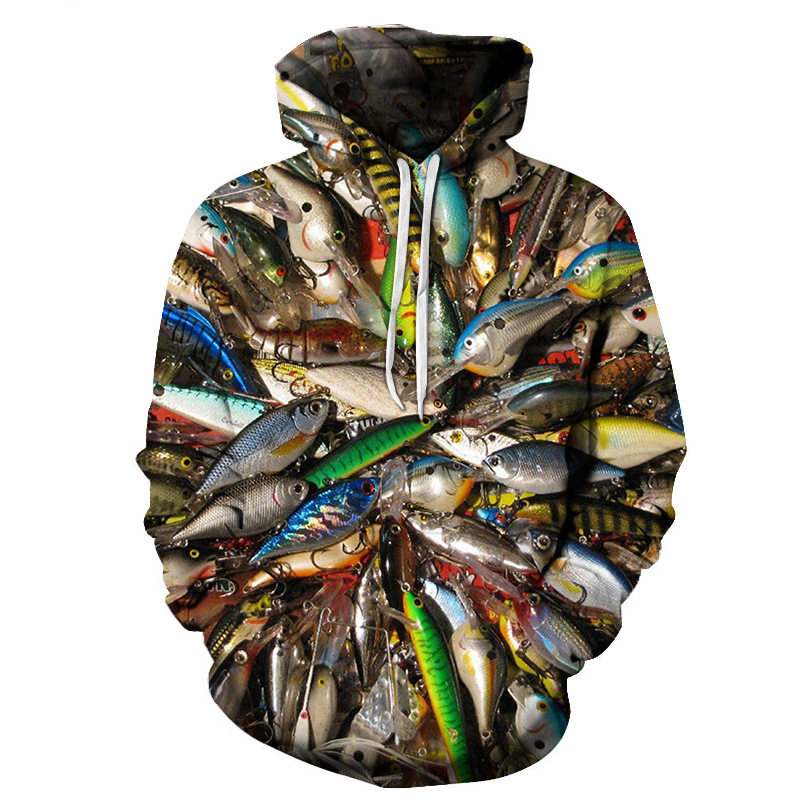 2019 3D Fish Hoodie Men Funny Sweatshirts Tropical Fishinger Tuna Print Sweatshirt Carp Hoodies Anime  Hip Hop Mens Clothing