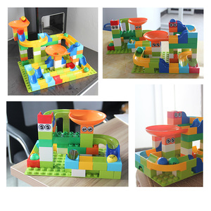 Image 3 - 56 224Pcs Big Size Brick Marble Race Run Maze Ball Track Diy Building Blocks Compatible Duploe block toys for children
