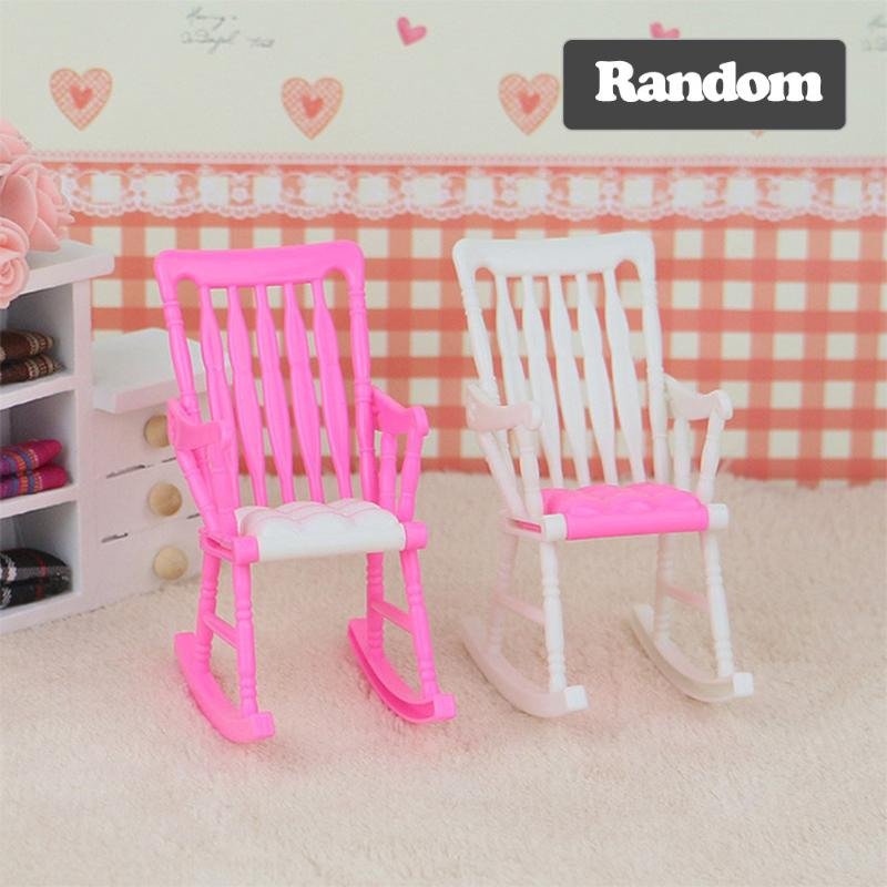 1pc Rocking Chair for Barbie Dolls Accessories Furniture for Barbie Doll House Decoration Kids Girls Play Toy Doll Rocking Chair plastic standing human skeleton life size for horror hunted house halloween decoration