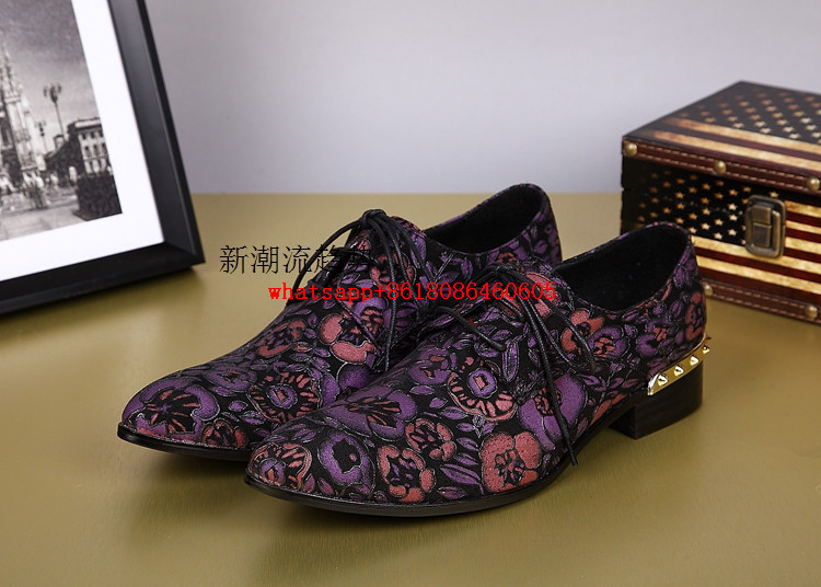 Men leather shoes nubuck purple spiked loafers dress wedding mens pointy  shoes velvet slippers flower printing oxford flats -in Formal Shoes from  Shoes on ... 4387f2ec28dc