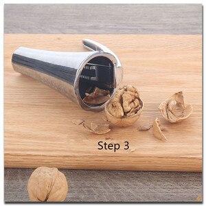 Image 5 - SHENHONG Zinc Alloy Pecan Nut Cracker Walnut Nutcracker Pine Cascanueces Sheller Funnel Frosted Grips Pliers Clamp Kitchen Tool