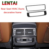 LENTAI Auto Car Styling Carbon Fiber Interior Back Rear Seat Air Outlet Frame Cover Sticker For Audi Q7 2016 2017 Accessories