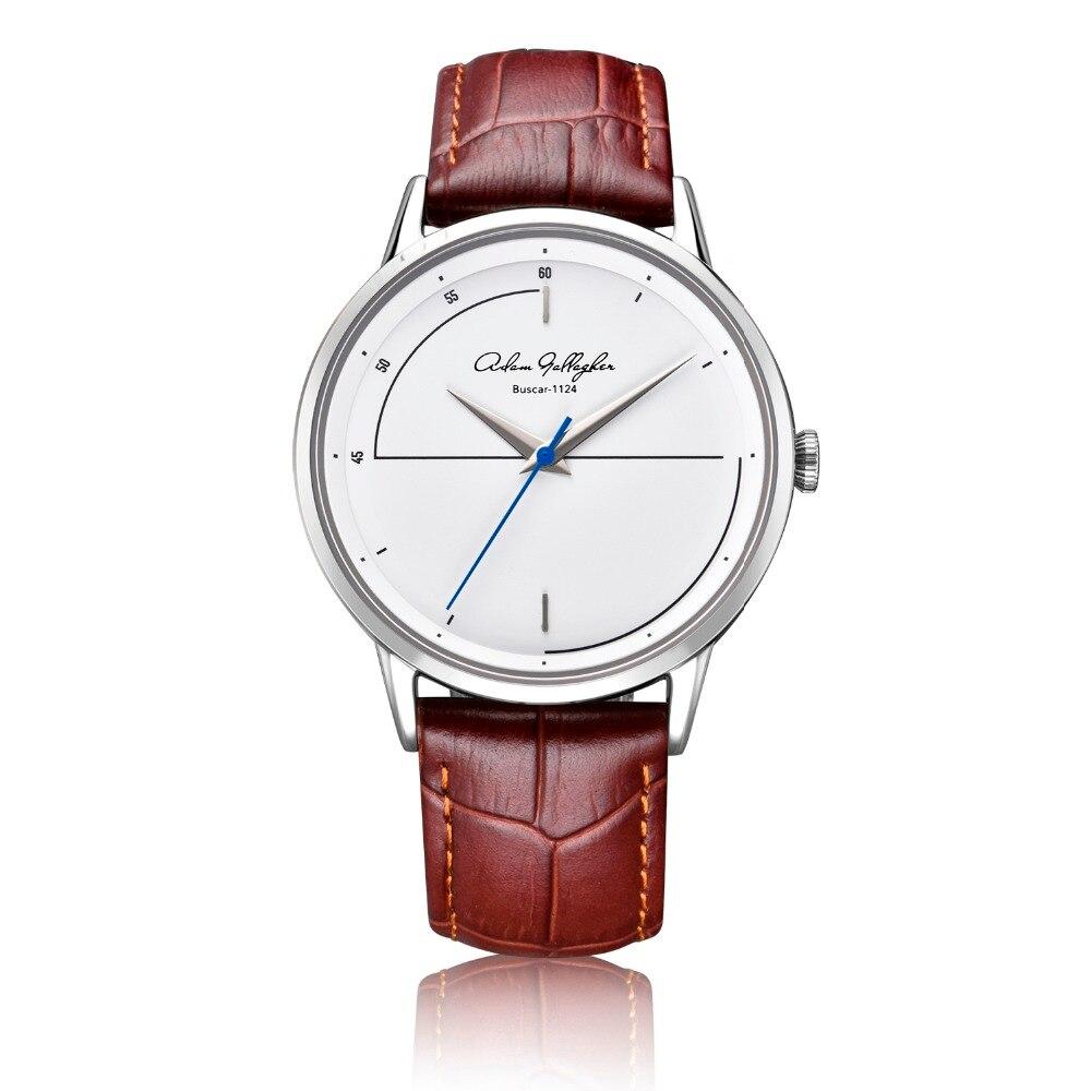 Adam Gallagher сапфировое стекло Швейцарский Rhonda движение высокое качество повседневное подарок часы коричневый кожаный ремешок