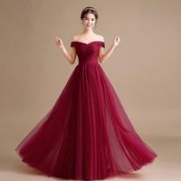 Vuitidos longs de festa madrinha casamento 2018 new Tulle hat sleeves A line burgundy bridesmaid dresses cheap plus size