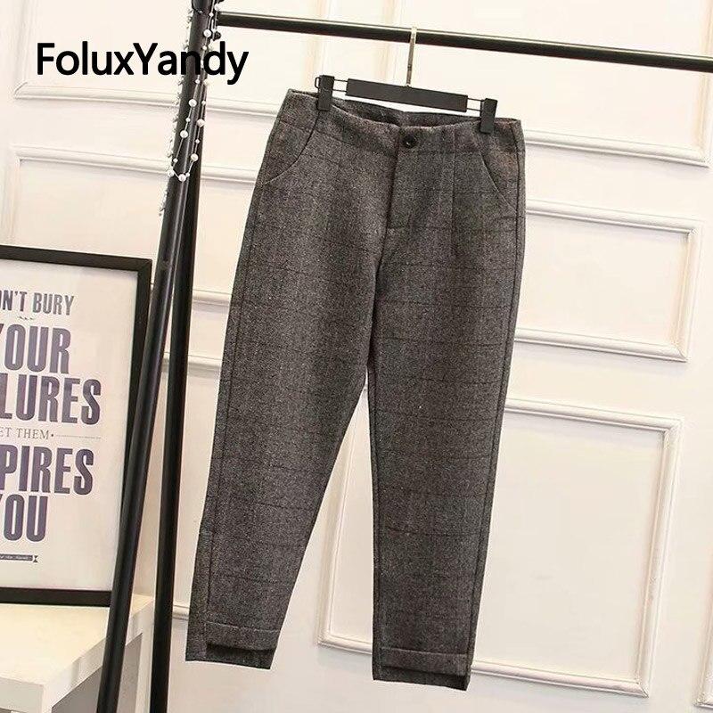 England Style Woolen Pants Autumn Winter Trousers Women Plus Size Loose Plaid Regular Harem KKFY2957