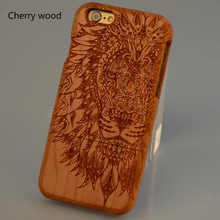 Lion head Engraving Cherry Walnut Pear Bamboo Wood Grain Cell Phone Case For Apple iPhone 7 7plus 6 Plus Custom name
