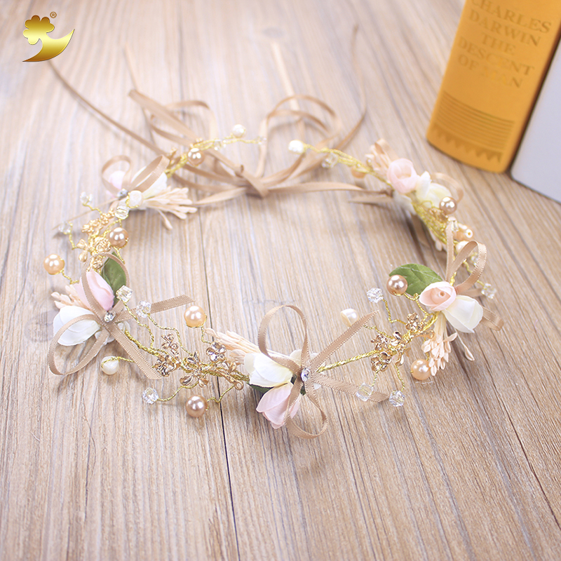 XinYun Luxury Wedding Headband Hair Jewelry Tiara for Women Adjustable Wedding Accessories Classic Hair Ornament Ribbon   Headwear
