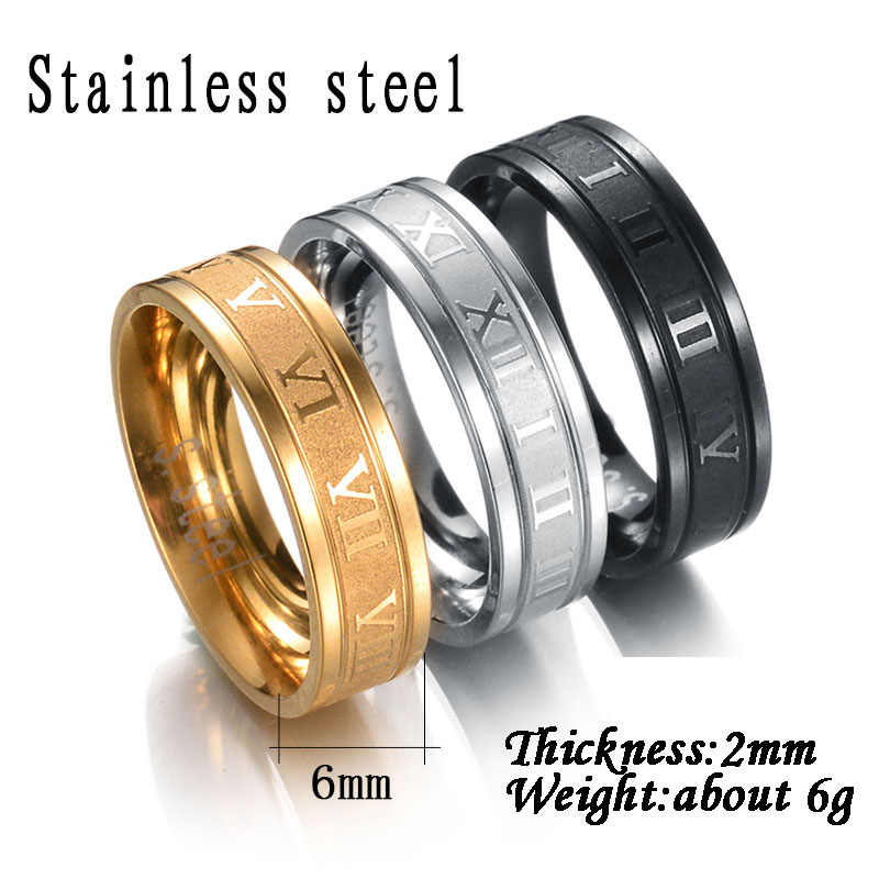 Atoztide 4-8 Mm Stainless Steel Angka Romawi untuk Wanita Pria Cubic Zirconia Hollow Pernikahan Bulat Hitam Jari cincin Perhiasan