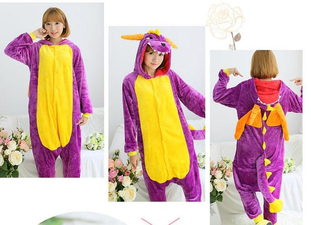 Fashion Adult Pajamas Cosplay Costume Japan Anime Purple Spyro Dragon Cute Flannel Animal Onesie Pyjama