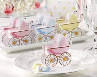 Free shipping  baby Stroller pink blue baby shower favor boxes 200pcs/lot meiguixinyu25