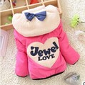 2016 New Winter Baby Girls Fashion Bow Warm Coat Kids Thickening Outerwear A310