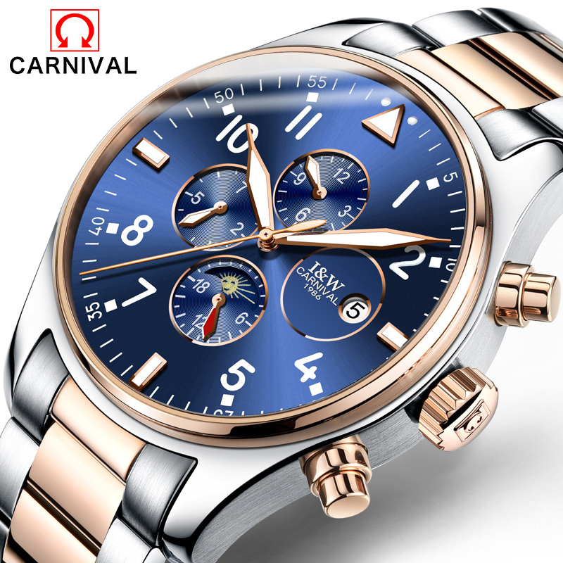 Carnival Watch Men Moon Phaes Automatic Mechanical Luminous Stainless Steel Waterproof multifunction Blue Watches цена 2017