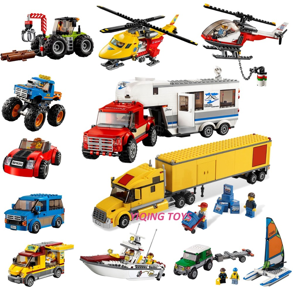 All Series City Great Vehicles Building Blocks Bricks Car Plane Ship Model toys for Childrens Kid Gift