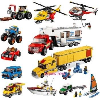 Todas las Series compatibles Legoe City Great vehículos bloques de construcción ladrillos coche avión barco modelo juguetes para niños niño regalo