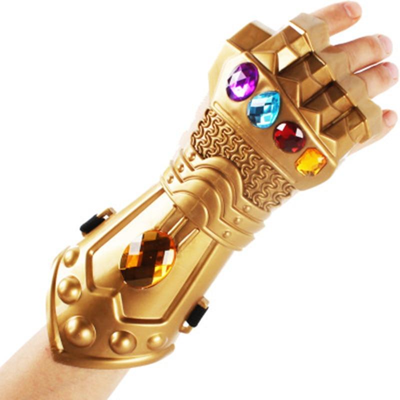 Boys Avengers 3 Infinity War Thanos Gauntlet Moive Figure Model Golden Plastic Gloves Halloween Cosplay Prop Toys For Children