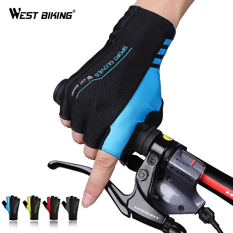 WEST BIKING Summer Cycling Gloves Half Finger Men Women Shockproof Breathable Bicycle Gloves Ciclismo MTB Road Bike Gloves i kua fly mtb cycling gloves half finger bike gloves shockproof breathable mountain sports bicycle gloves men guantes ciclismo 4