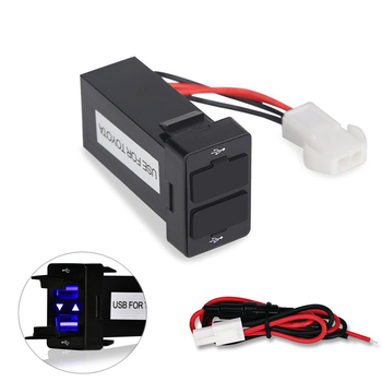 For TOYOTA 12v 24v Dual Usb Car Charger Usb 2.1A 2 Port Interface Auto Power Adapter Dashboard Socket Car Modification