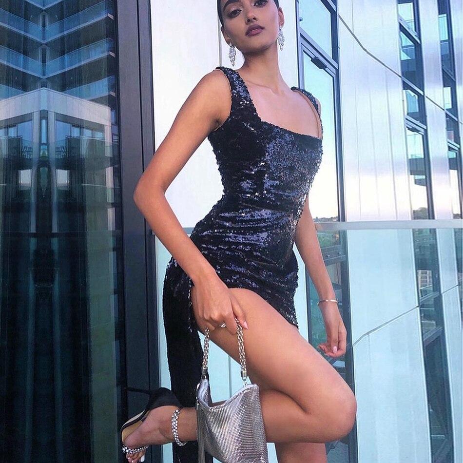 Adyce 2019 New Summer Women Sequined Celebrity Evening Runway Party Dress Sexy Mini Luxury Draped Spaghetti