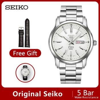 Montre Automatique Seiko   100% Original SEIKO 5 Mouvement Automatique Hommes Montre Mécanique Montres 5 Bar Résistance à L'eau Lumineux Garantie Globale SNKM87J1