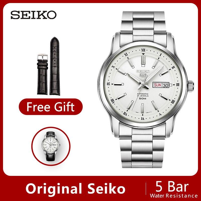 100% oryginalny SEIKO 5 automatyczny ruch mężczyzna zegarka mechaniczne zegarki na rękę 5 bar odporność na wodę Luminous globalnej gwarancji SNKM87J1 w Zegarki mechaniczne od Zegarki na  Grupa 1