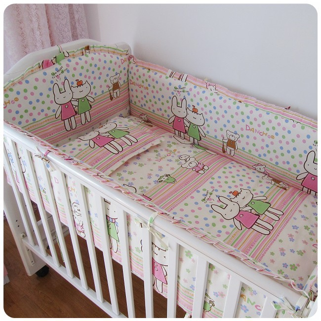 Promotion! 6PCS hot baby crib bedding set, cartoon pattern bed around the crib bedding set (bumper+sheet+pillow cover)